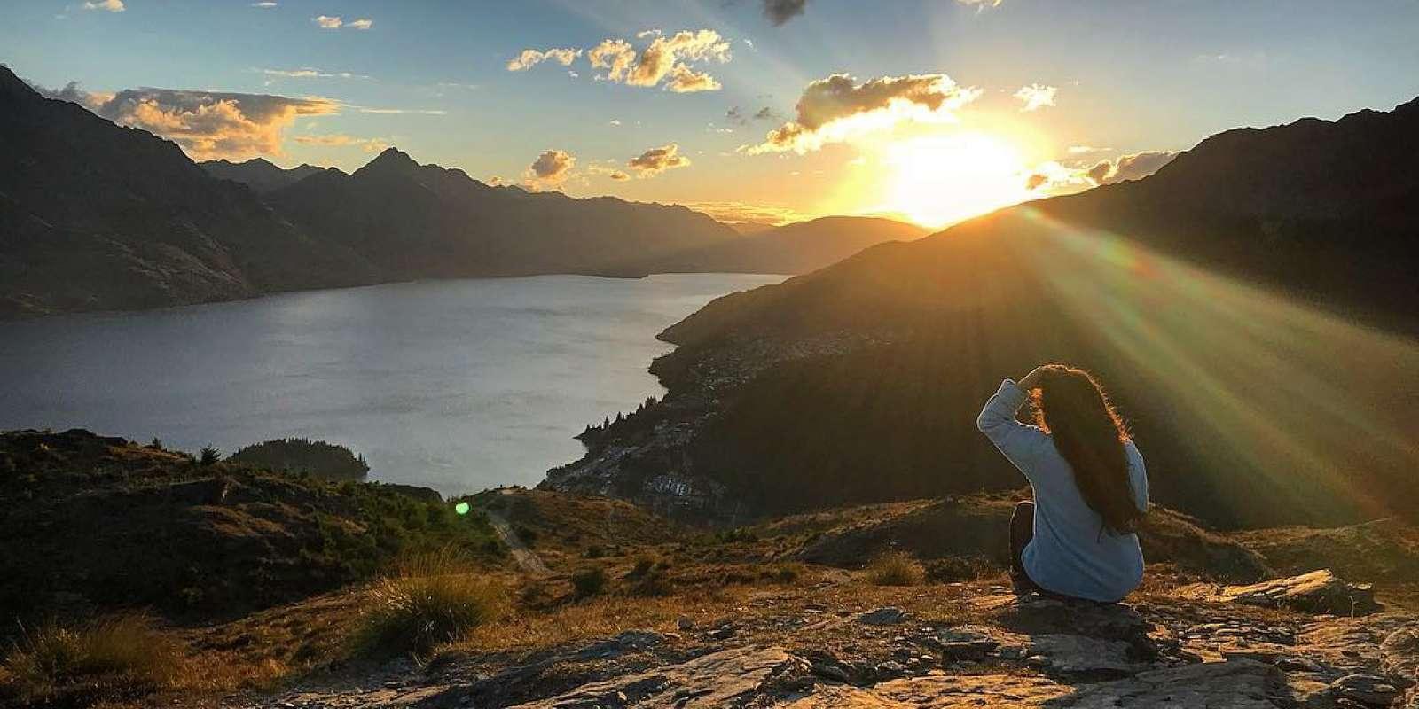 Queenstown Hill sunset overlooking Lake Wakatipu