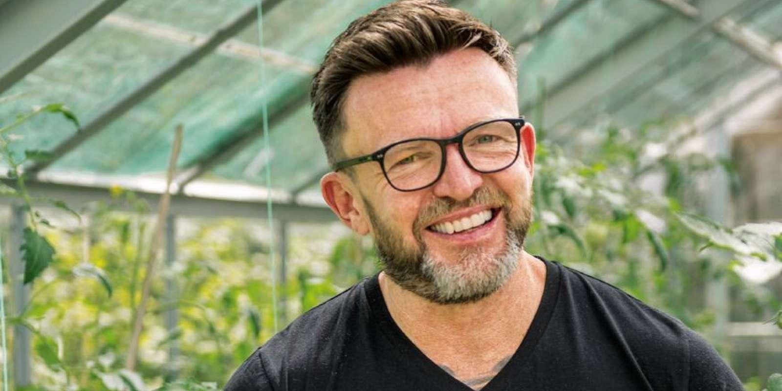 Darren Lovell in his organic vegetable garden
