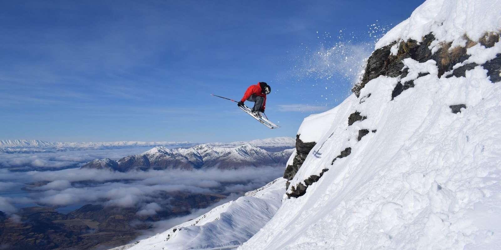 Skiier at Treble Cone