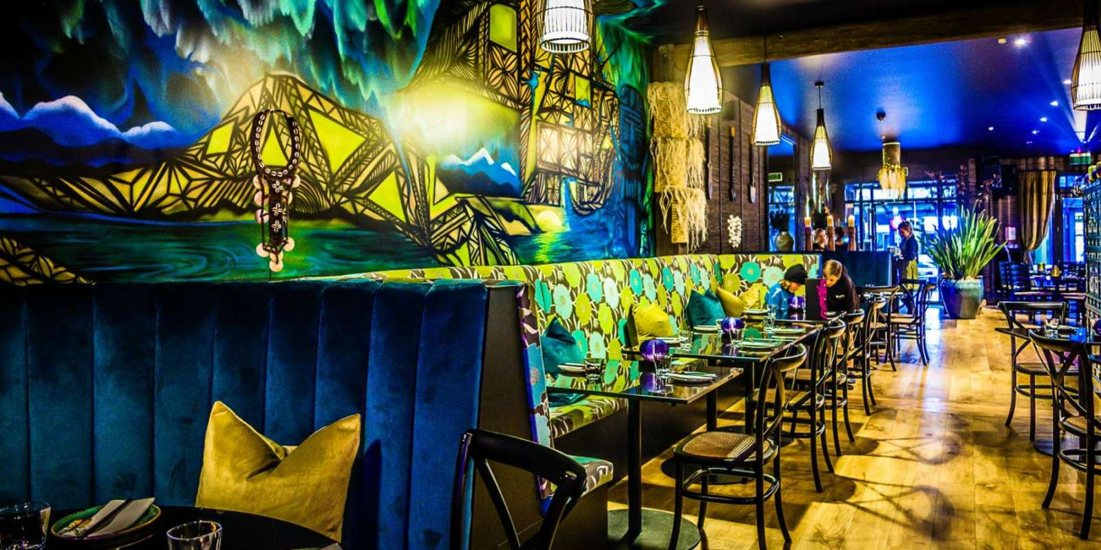 The vibrant interior of Blue Kanu
