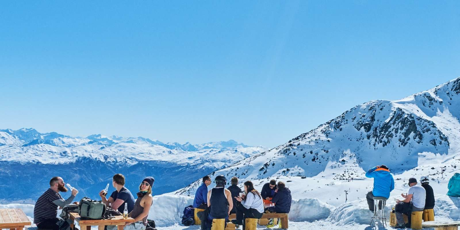Spring ski and refreshment break at Remarkables Ski Field