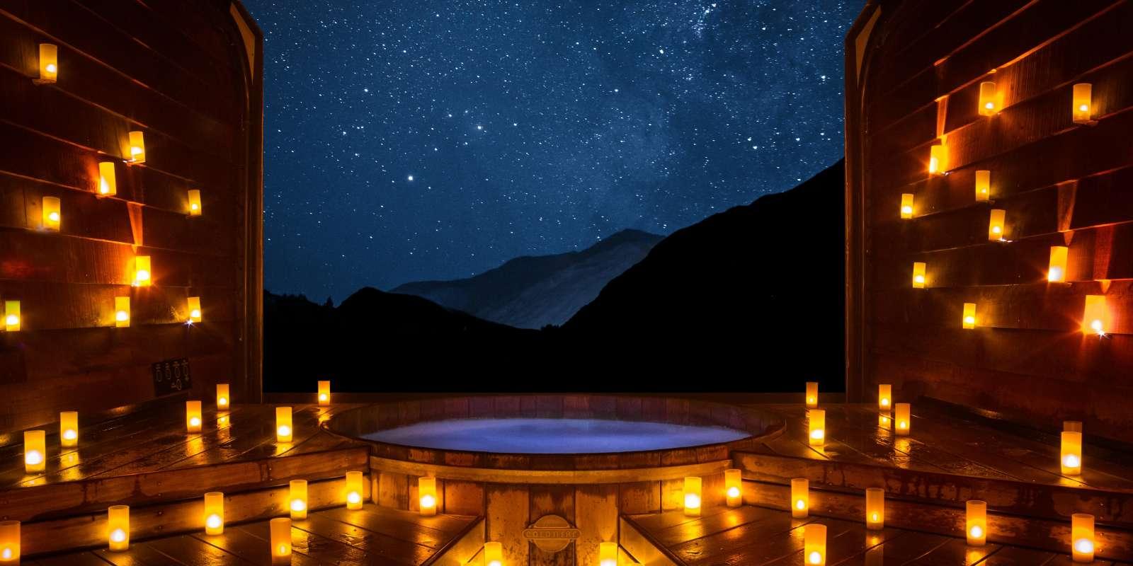 Onsen Hot Pools at night