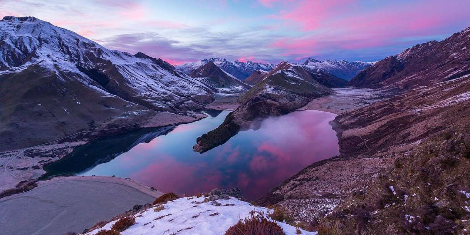 Pink skies over Moke lake