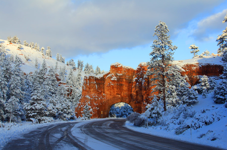 Light snow begins to disappear on Byway 12 in Red Canyon, near Bryce Canyon.