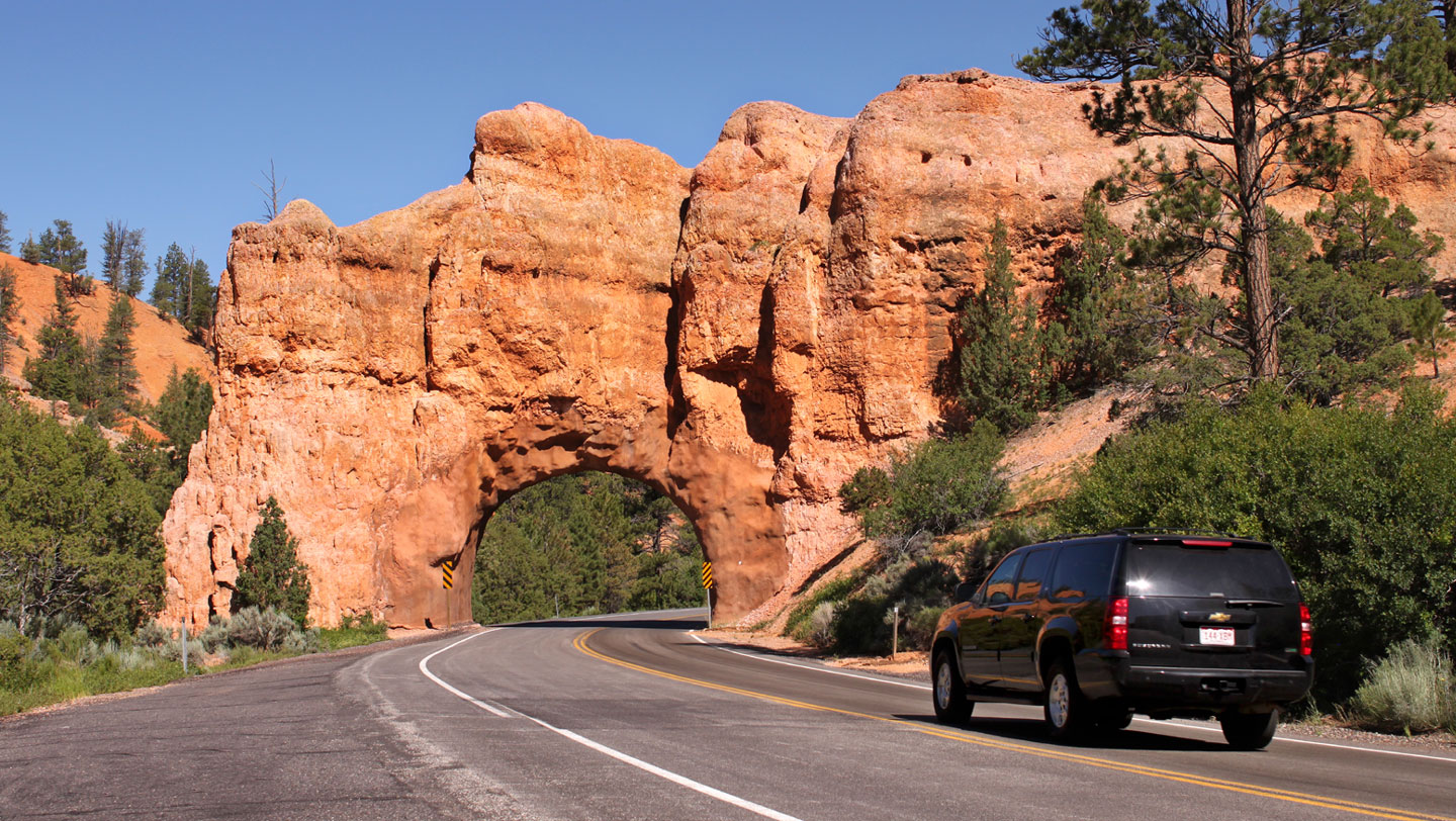 Tunnel in Red Canyon of Dixie National Forest near Bryce Canyon National Park