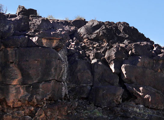 A wall of volcanic rock from ancient lava