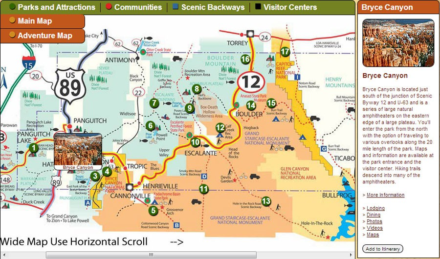 Bryce Canyon itinerary builder