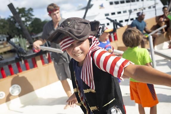 Boy dressed as pirate at Blackbeard's Pirate Cruise/