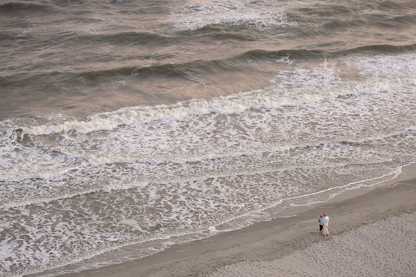 Couple on the beach in North Myrtle Beach.