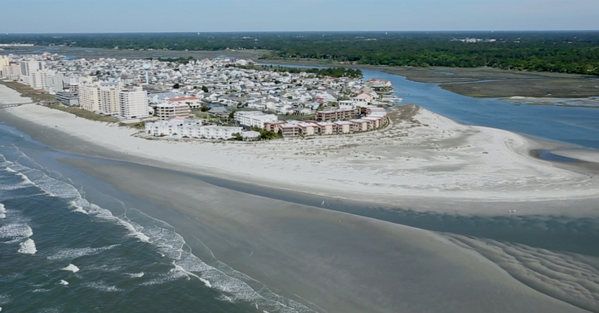 Aerial view of Cherry Grove Inlet Point in North Myrtle Beach