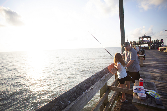 Fishing on the Cherry Grove Fishing Pier.