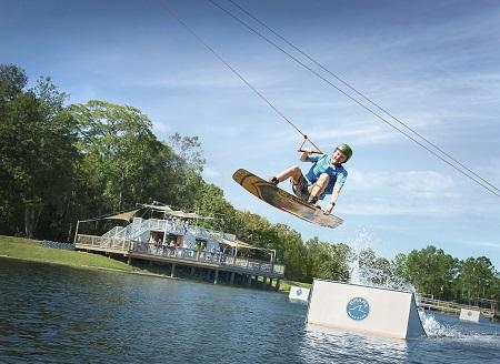 Watch soaring adventures at Shark Wake Park.