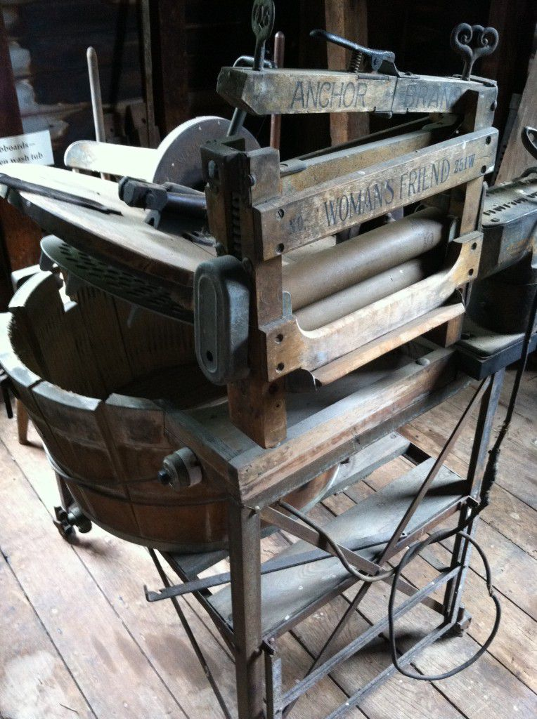 "Check out this old fashioned washing machine...Note is called ""Womans Friend"""