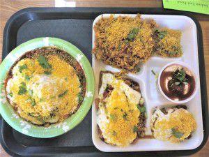 Samosa chaat and chaat platter