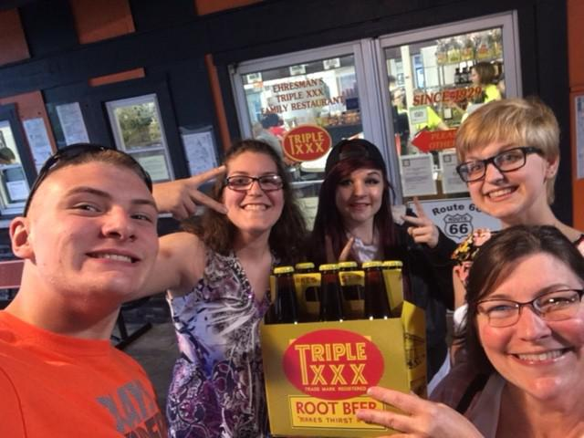 """My kids had never been to triple XXX and it had been years since I had eaten there.  Since the hubby couldn't make it for this adventure we bought a six pack of root beer to bring home for him. Probably the most interesting part of the visit to Triple XXX was the fact that there was a tornado warning, sirens started blaring and we were all shipped out of the restaurant across the parking lot to a large storage closet that they have in their office building. I guess you could say we got a 45 minute """" back stage"""" tour of Triple XXX!"""