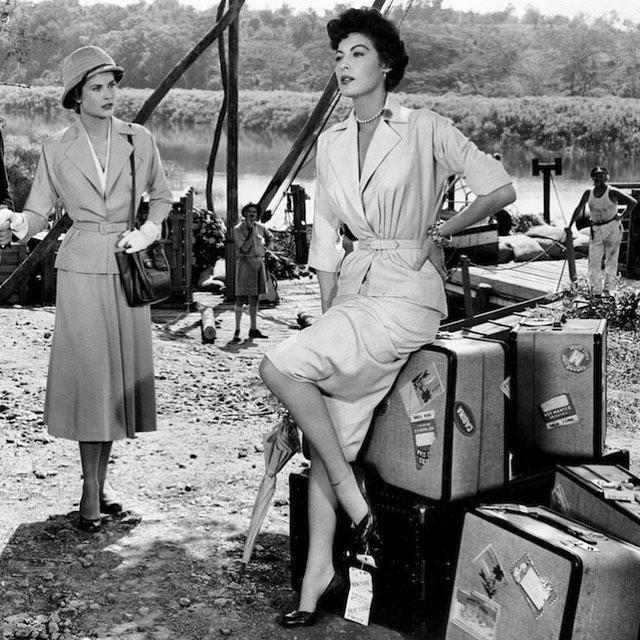 Ava and Grace Kelly Mogambo river safari luggage