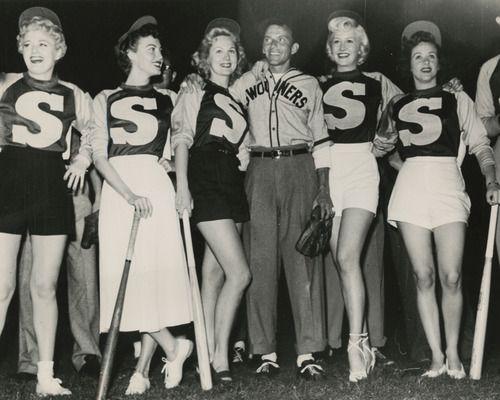 Shelley Winters, Ava Gardner, Virginia Mayo, Frank Sinatra, Marilyn Maxwell and Fran Warren baseball