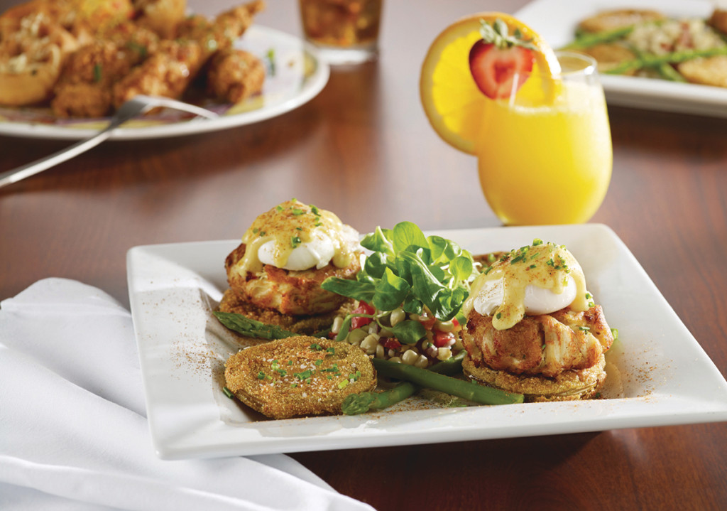 Fried Green Tomato & Crab Cake Benedict