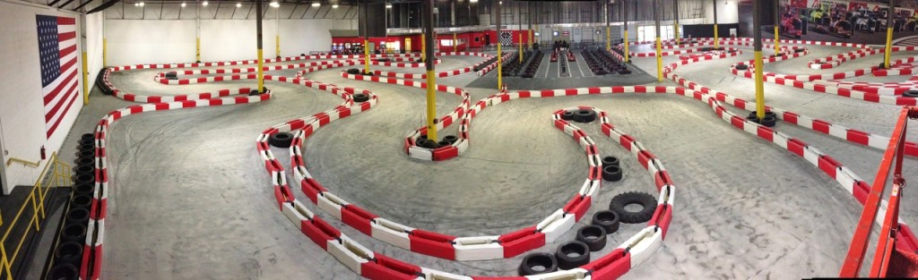 Two indoor grand prix style tracks in a massive air conditioned facility.