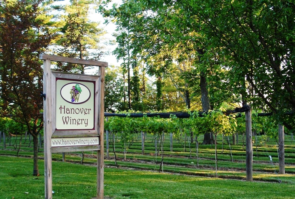 Hanover Winery entrance sign
