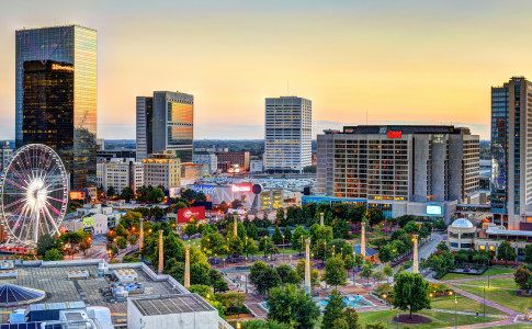Atlanta-Downtown-Centennial-Olympic-Park-Skyline-Sunset