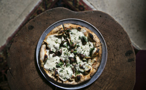 Buckhead Betty Pizza--Spinach, Garlic, Roasted Mushrooms, Ricotta Bechamel, Fresh Mozzarella-550x367