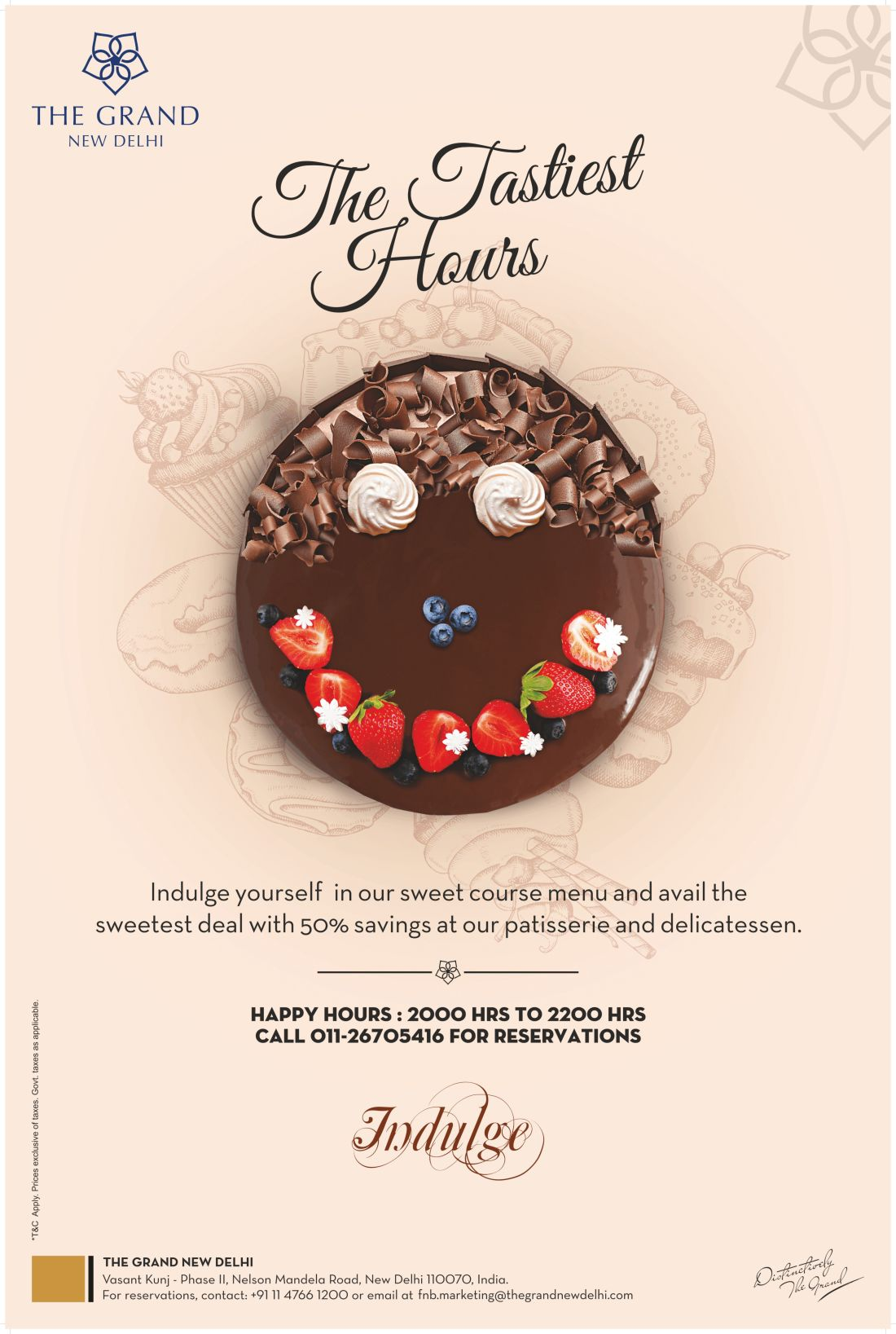 Happy Hour Cake Promotion at The Grand New Delhi, 5 star hotel in vasant kunj, best hotel deals in New Delhi 168