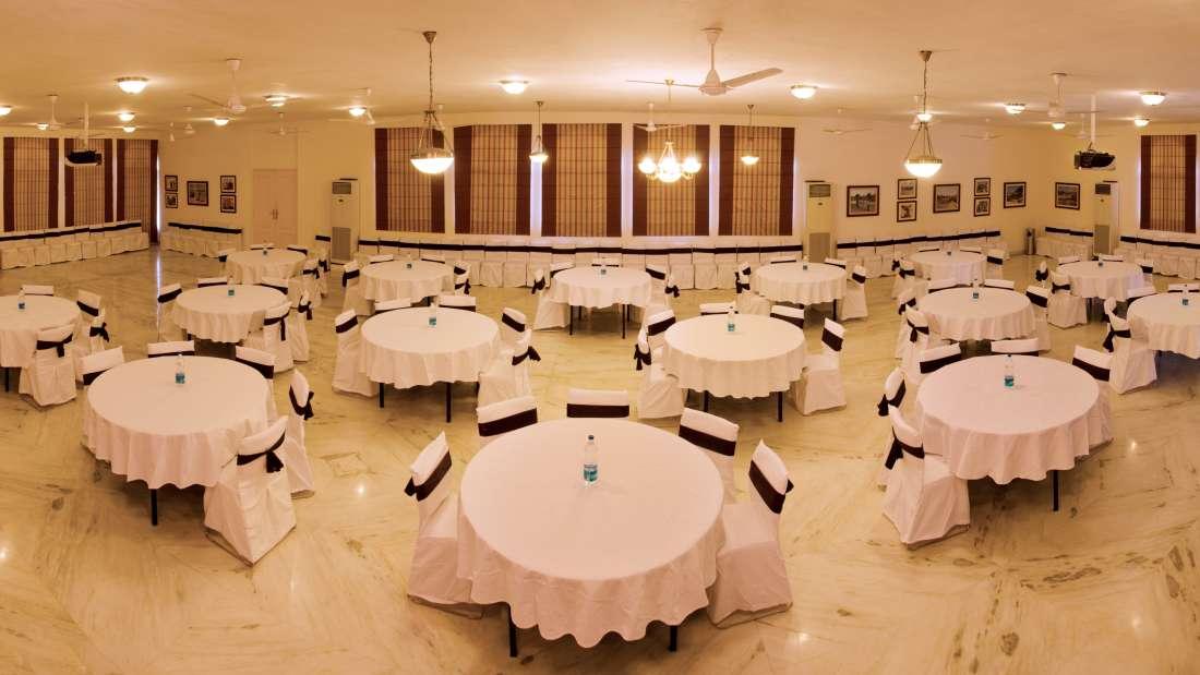The Royal Durbar banquet hall at Bijolai Palace Hotel Jodhpur-Heritage Hotel in Jodhpur