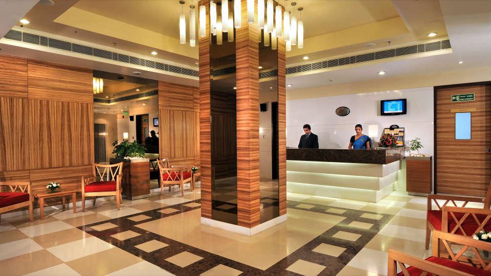 Lobby at Hometel Chandigarh, best hotels in chandigarh 2