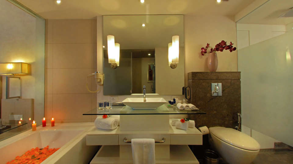 Bathroom at Hotel Park Plaza, Faridabad - A Carlson Brand Managed by Sarovar Hotels, Hotels in Faridabad