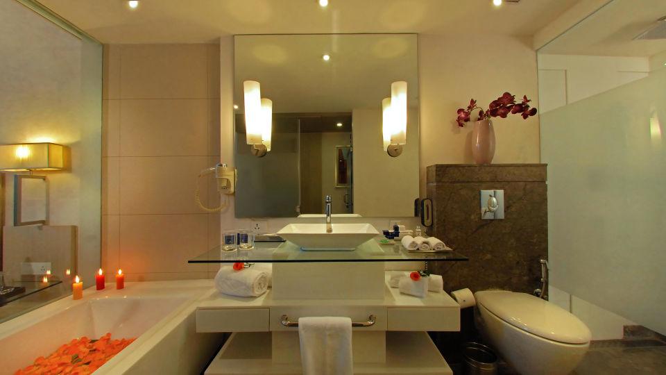 Bathroom at Hotel Park Plaza, Faridabad - A Carlson Brand Managed by Sarovar Hotels, Hotels in Faridabad
