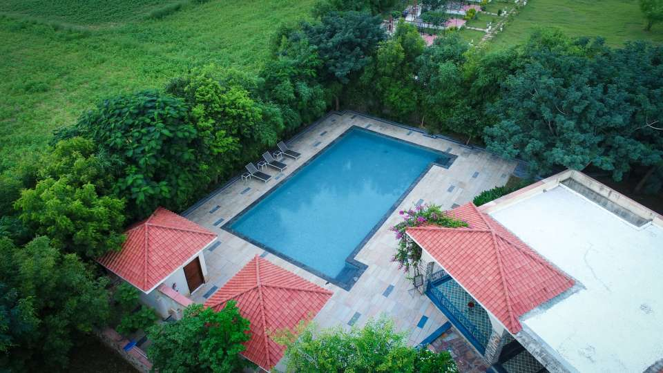 Swimming pool at Tree Leaf Kipling Lodge Ranthambore