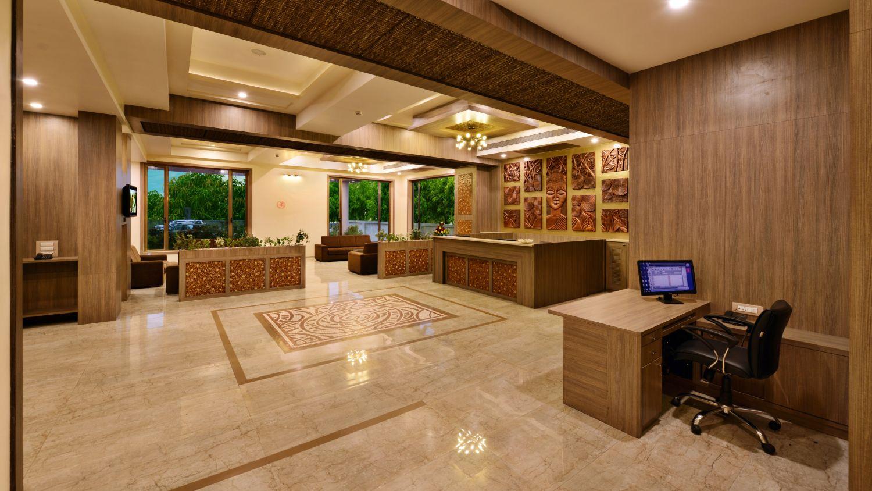 Reception area at our hotel near Sasan Gir, Gir National Park Hotels, Sarovar Portico Sasan Gir