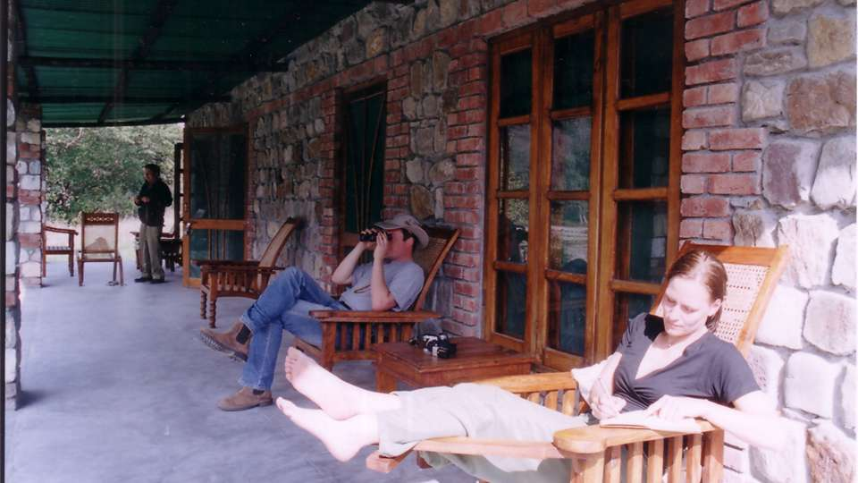 Birding from Varandah at Wild Brook Retreat, Rajaji National Park