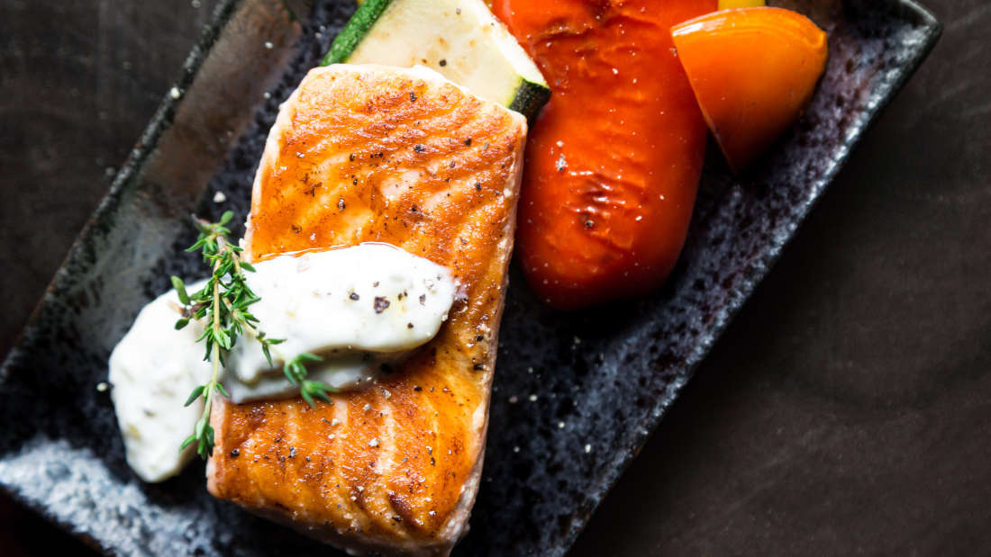 Canva - Grilled Salmon Fish on Rectangular Black Ceramic Plate