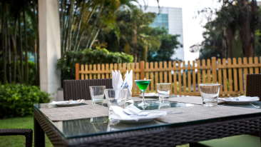 Outdoor Dining at Radha Hometel Bangalore, best hotels in bangalore