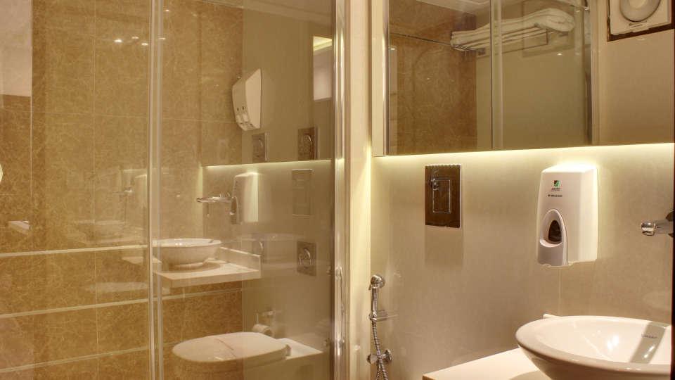 Washroom Grand budget hotels in paharganj  Godwin New Delhi 7
