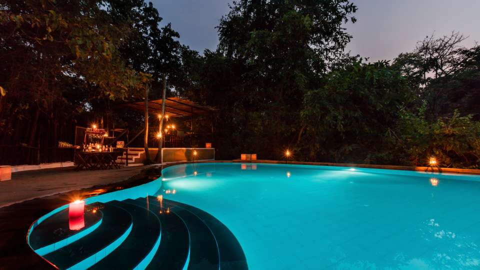 Swimming pool at Reni Pani, Jungle Lodge Near Satpura National Park