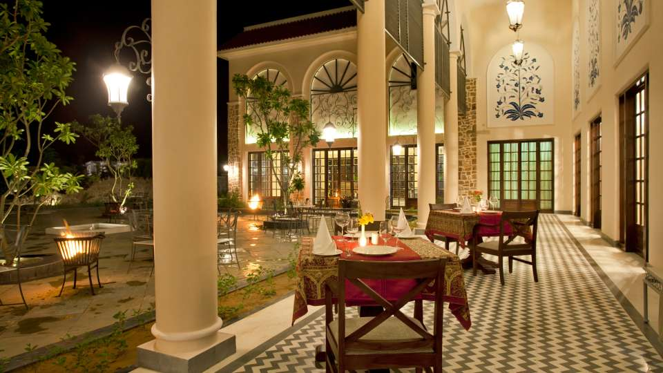 Evening Outdoor Dining at Tree Leaf Kipling Lodge Ranthambore