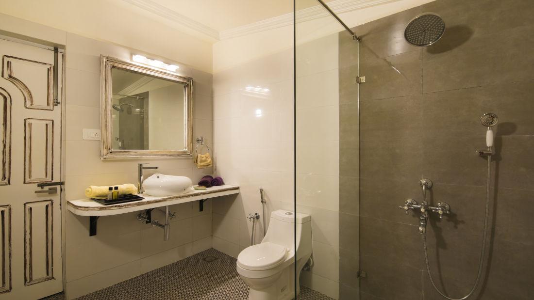 Bathroom in Heritage Room at Bara Bungalow South Goa 1, Accommodations in South Goa, South Goa rooms