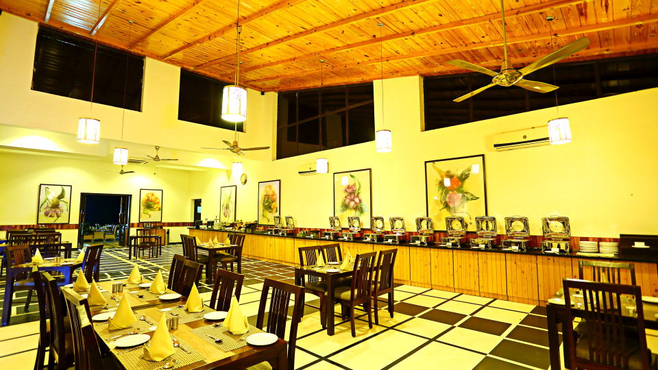 The golden Forest restaurant at The Golden Tusk Resort, Restaurants in Corbett 2