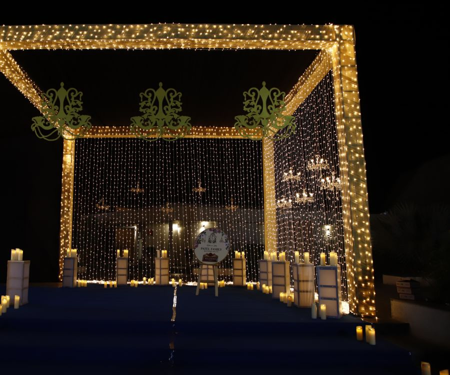 alt-text event decorations at Narayani Heights hotel, banquet hall in ahmedabad