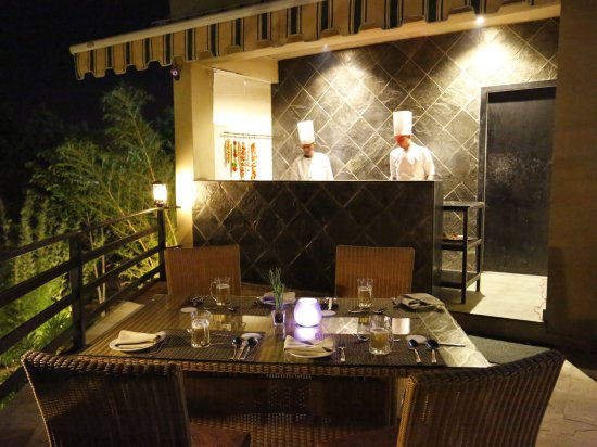 The deck - grill n barbecue at The golden tusk resort, restaurant near Corbett National Park 2