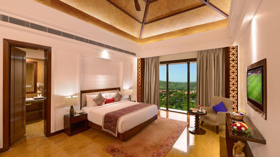Junior suite bed room at ananta udaipur suites in udaipur