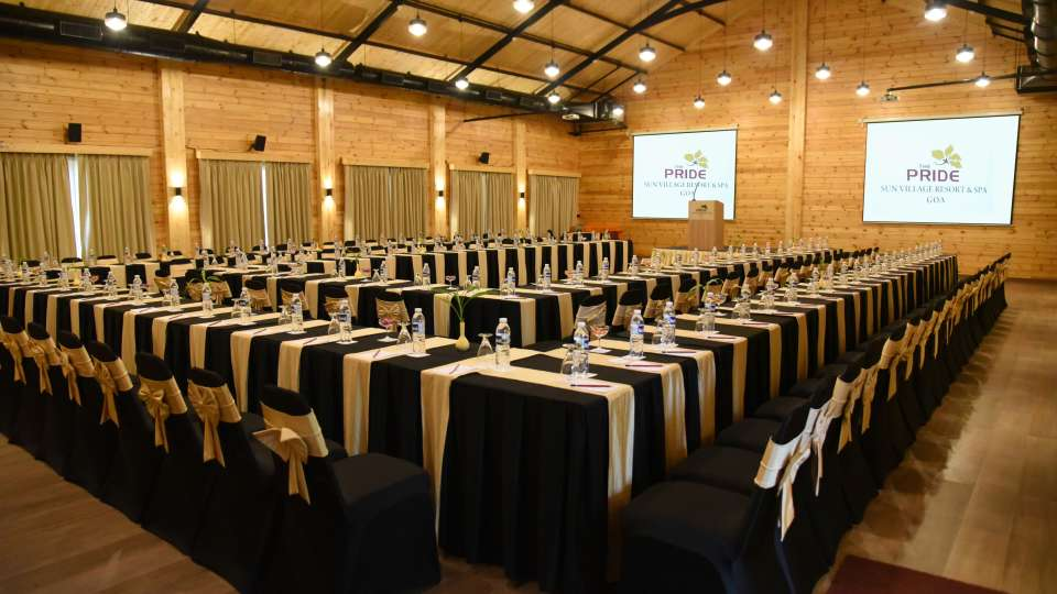 Double U Shape Seating with Tables Chairs Capacity - 72 48 120 PAX
