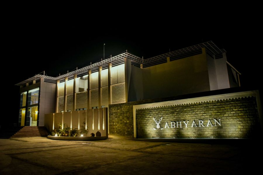 alt-text Night view of Clarks Resort Abhyaran