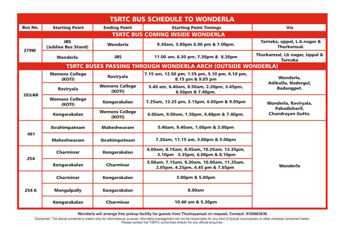 Wonderla Amusement Parks & Resort  TSRTC Bus Timing
