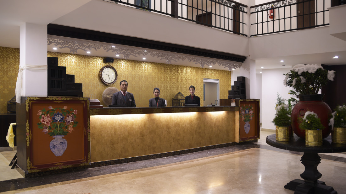 reception lobby at Summit Denzong Hotel Spa Gangtok 3