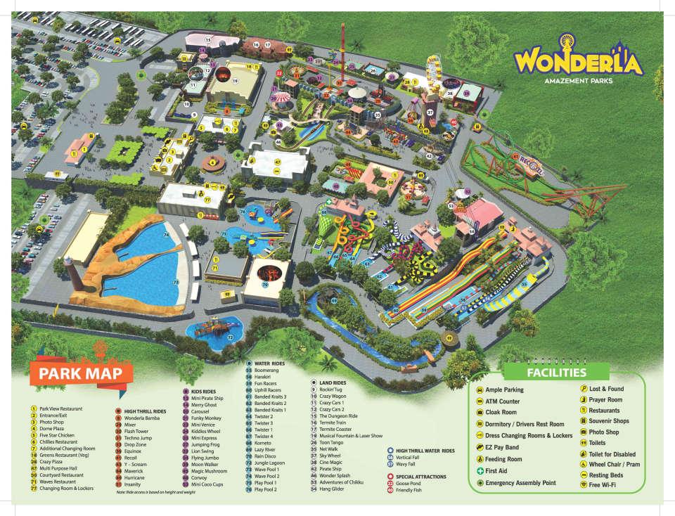 Wonderla Bangalore Park Map
