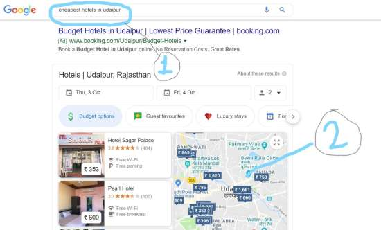 Step 1 Search Google for Cheapest hotels in Udaipur. Click on Maps